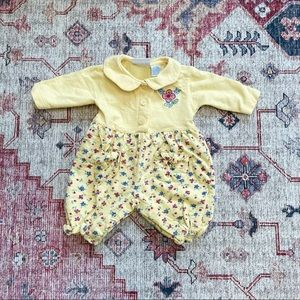 Vintage 90s yellow floral collared bubble romper